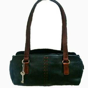 Fossil Black Leather w/Brown Shoulder Bag
